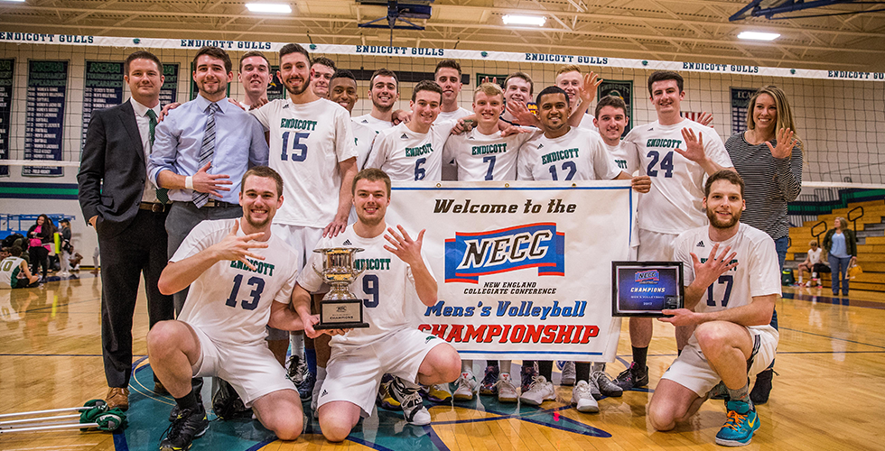 #1 Endicott Downs #3 Elms For their Fifth Straight NECC Men's Volleyball Title