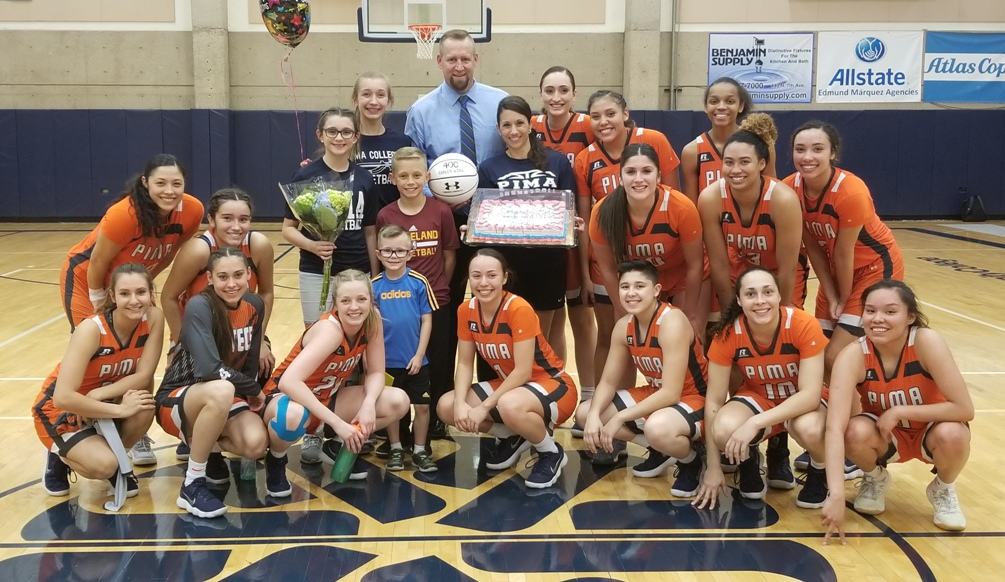 Pima women's basketball head coach Todd Holthaus earned his 400th career victory as a head coach. He won 160 games at Flowing Wells High School from 1998-2005 and sits at 240 wins at Pima. The Aztecs beat Scottsdale 97-74 to move to 20-5 overall and 14-3 in ACCAC conference play. Photo by Raymond Suarez