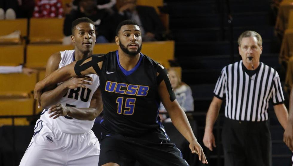 Alan Williams had 19 points and 10 rebounds in UCSB's first round loss at the College Basketball Invitational in Tulsa, Okla., on Wednesday night. (Photo by Mark Moore of Oral Roberts Athletics)