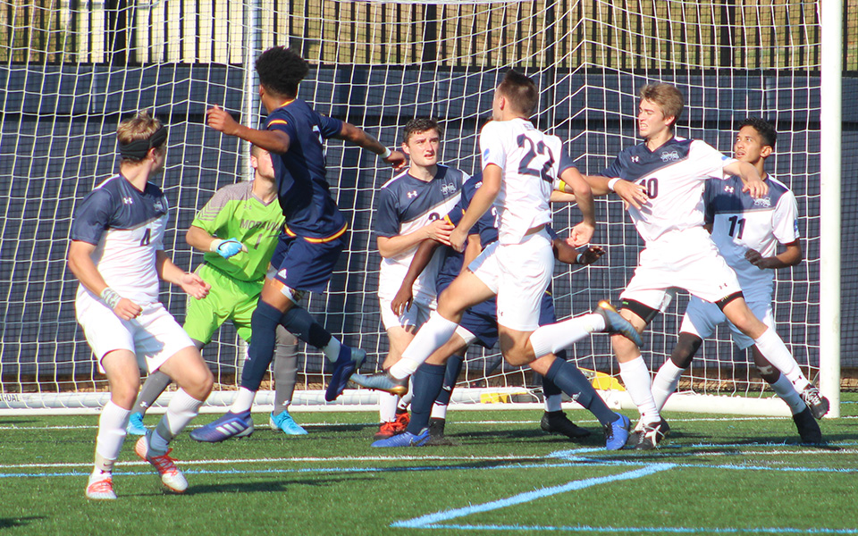 The Greyhounds defend a corner kick versus Lycoming College on John Makuvek Field.