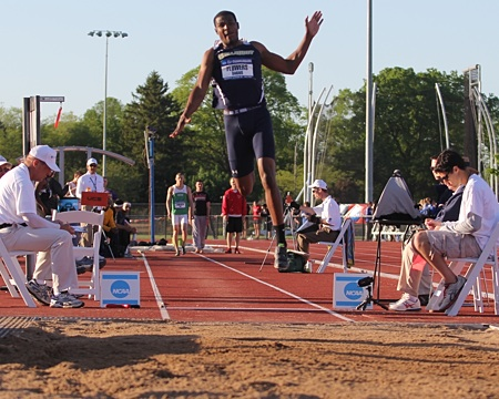 Gallaudet's Darius Flowers earns a second All-American honor with his 7th place finish in the triple jump.