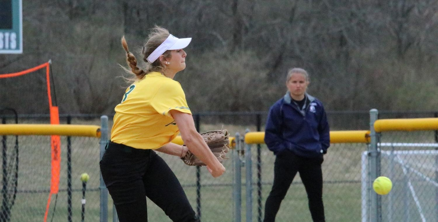 Whitney Tyler (3) had five strikeouts in game two for Keuka College