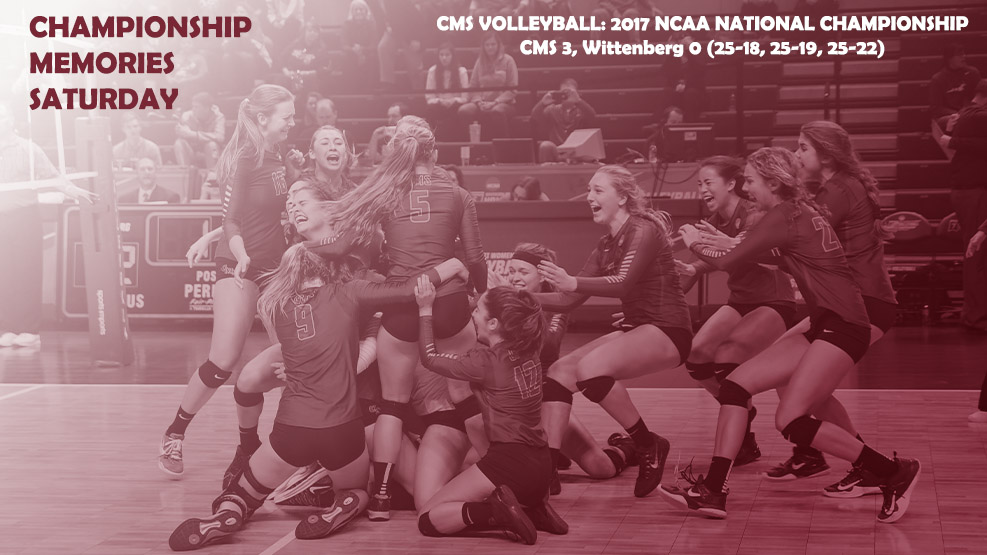 CMS Volleyball celebrating the 2017 national championship