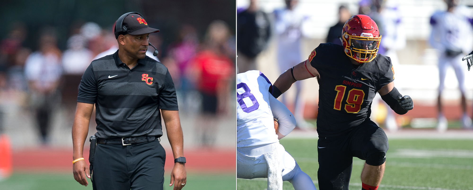 Head coach Matt Jeter (left) earned American Rivers Coach of the Year honors and linebacker Michael Connor was named Defensive Player of the Year for the 2018 season.