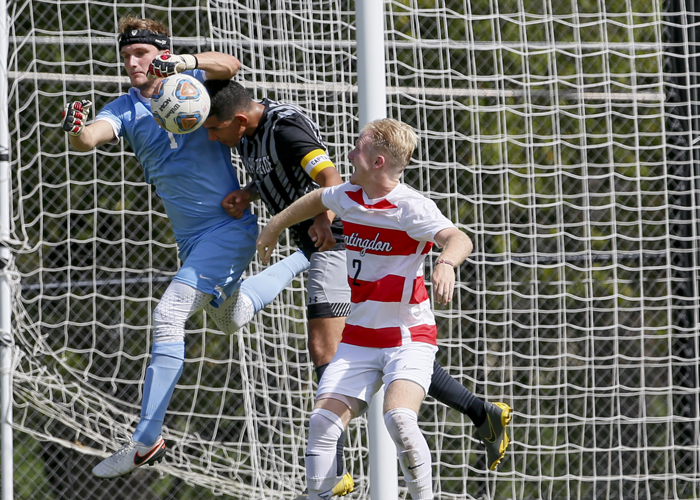 Goalkeeper Zak Heino recorded nine saves in Saturday's 1-0 overtime loss to William Peace. (Photo by Julie Bennett/juliebennettphoto.com)