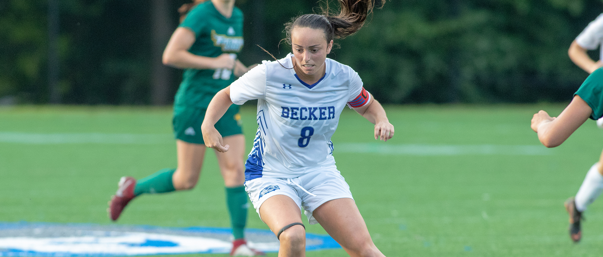 Senior women's soccer forward, Lindsey Keith, in action against Fitchburg State