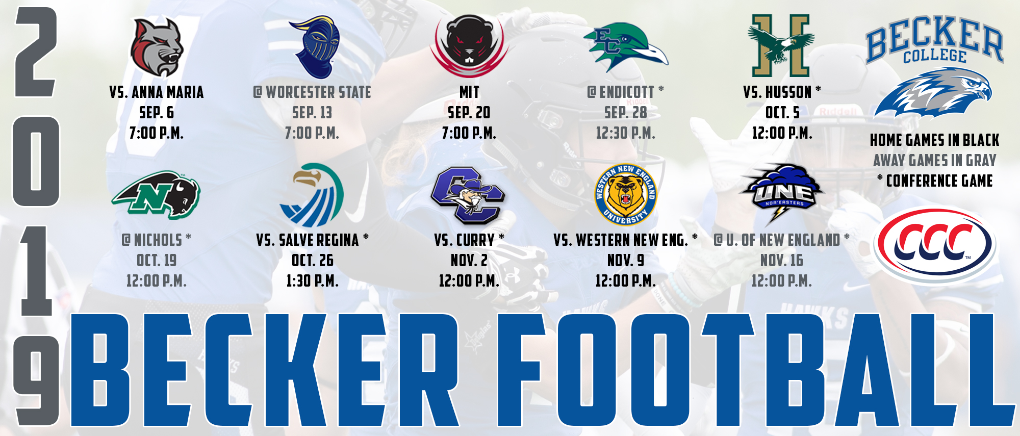 2019 Becker College Football Schedule