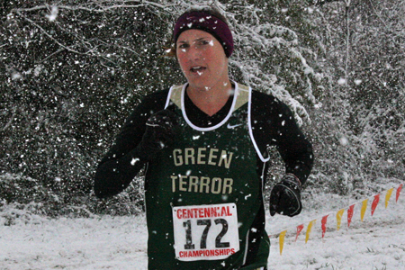 Emily Peoples through the snow at the 2011 Centennial Conference Championship.