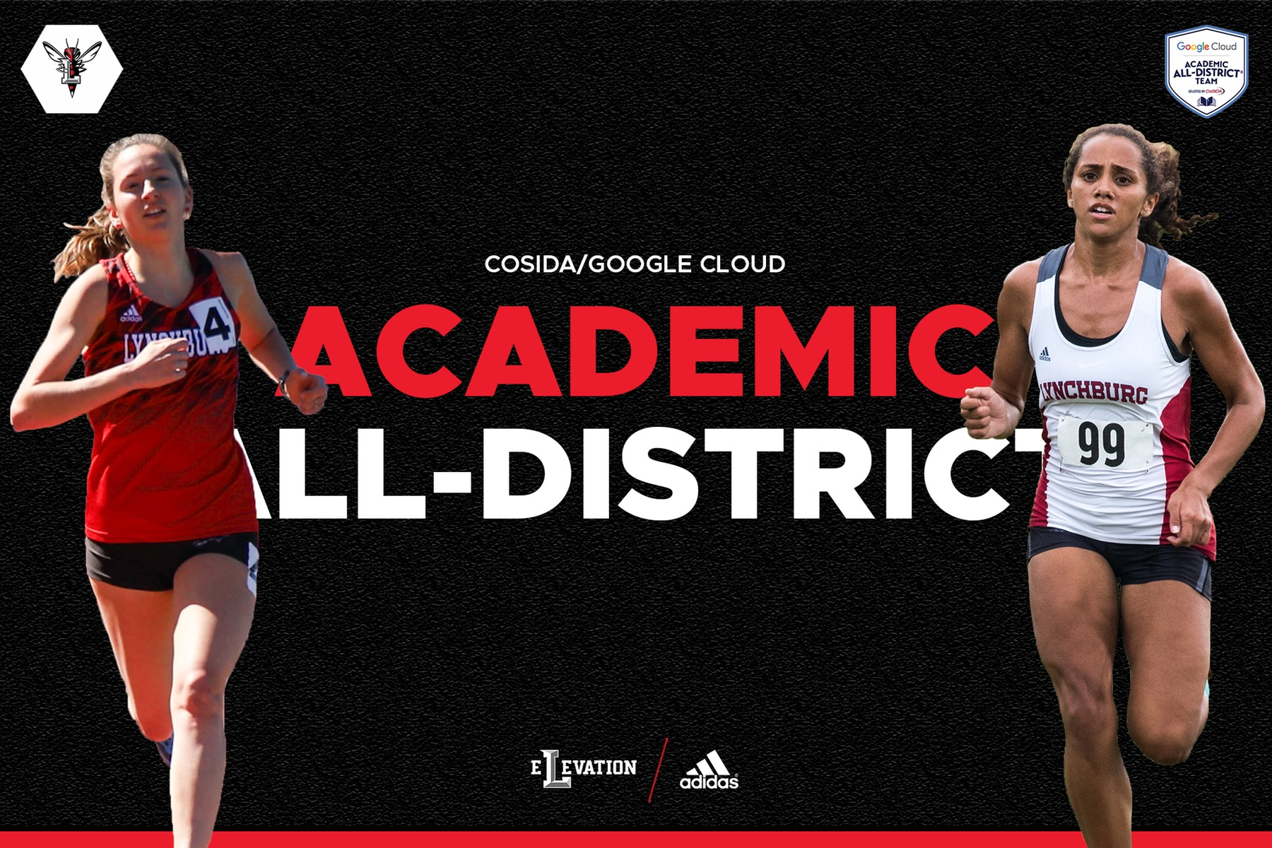 Cutout images of Schreiber and Johnson running on black background. Text: Academic All-District