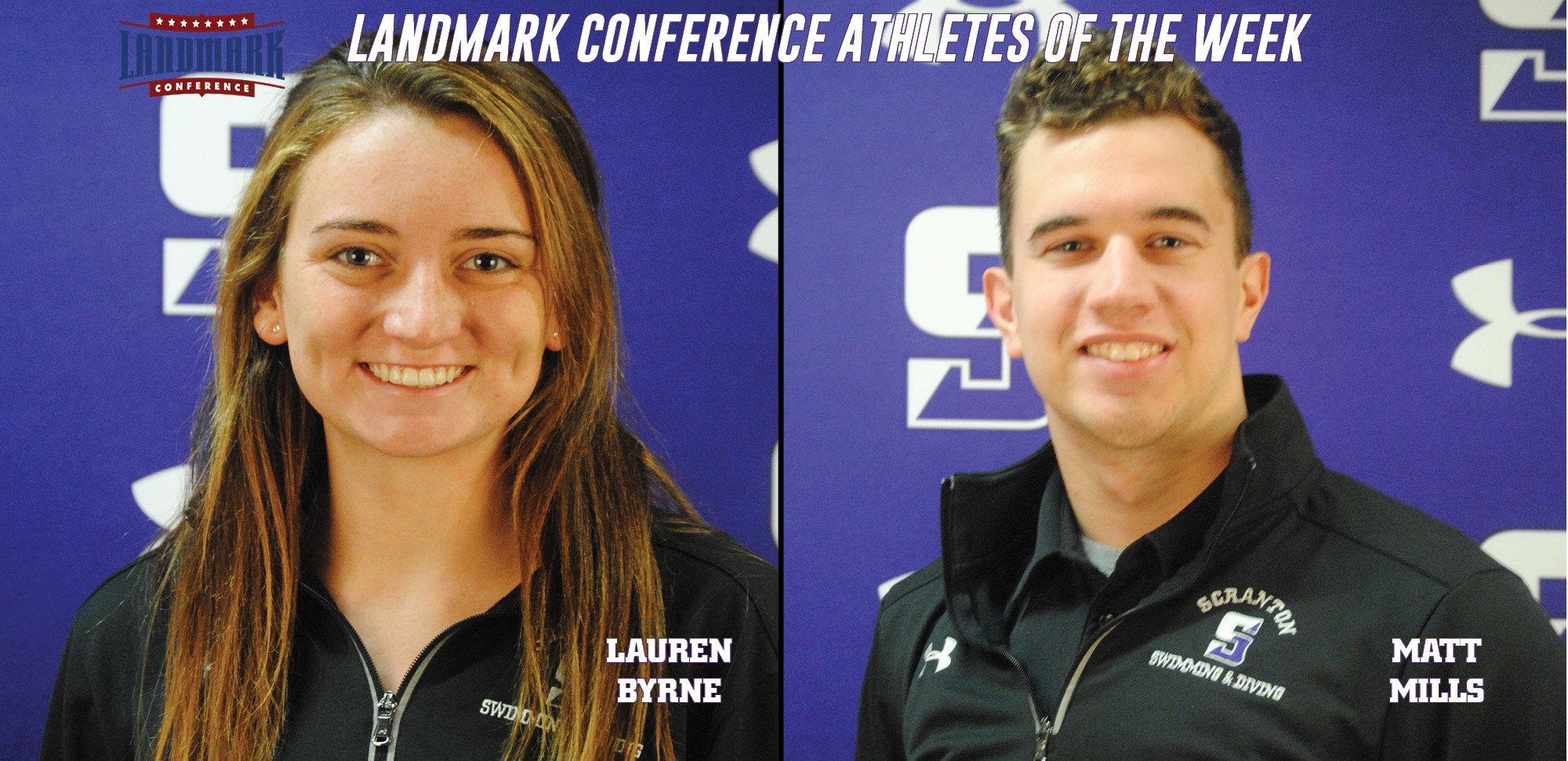 Byrne, Mills Sweep Landmark Conference Women's/Men's Swimming & Diving Athlete of the Week Honors