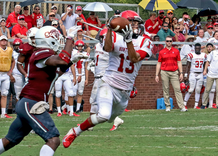 C.J. Pugh had six receptions for 124 yards and a touchdown in Saturday's loss to Maryville. (Photo by Carrie Bump)
