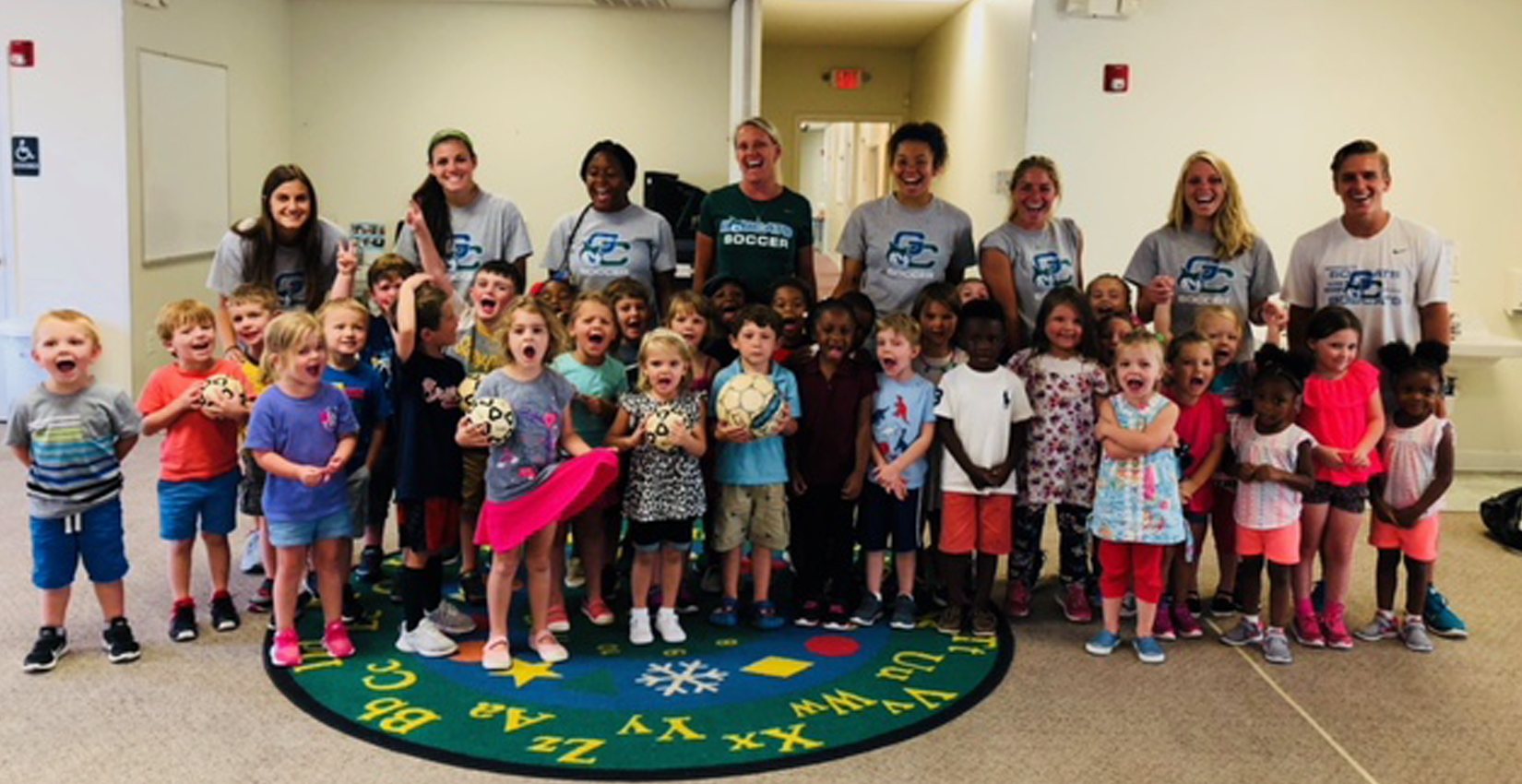 Bobcat Soccer Visits Little Caterpillar's Preschool