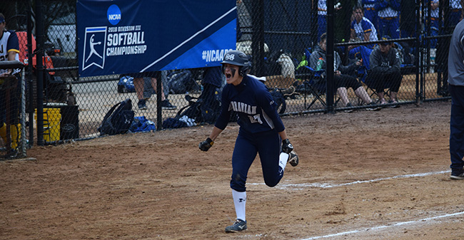 Brooke Wehr '21 celebrates on her way to home plate after a go-ahead home run in the sixth inning of a win over The College of New Jersey in the NCAA DIII Ewing, N.J. Regional.