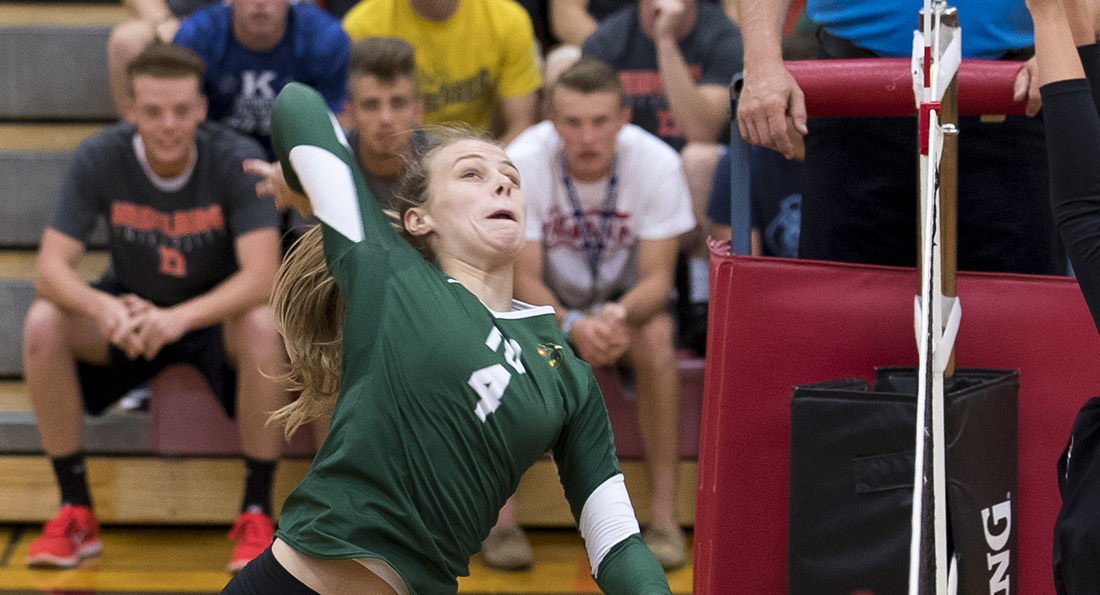 Jenna Huffman led Tiffin with 18 kills and a .696 hitting percentage.