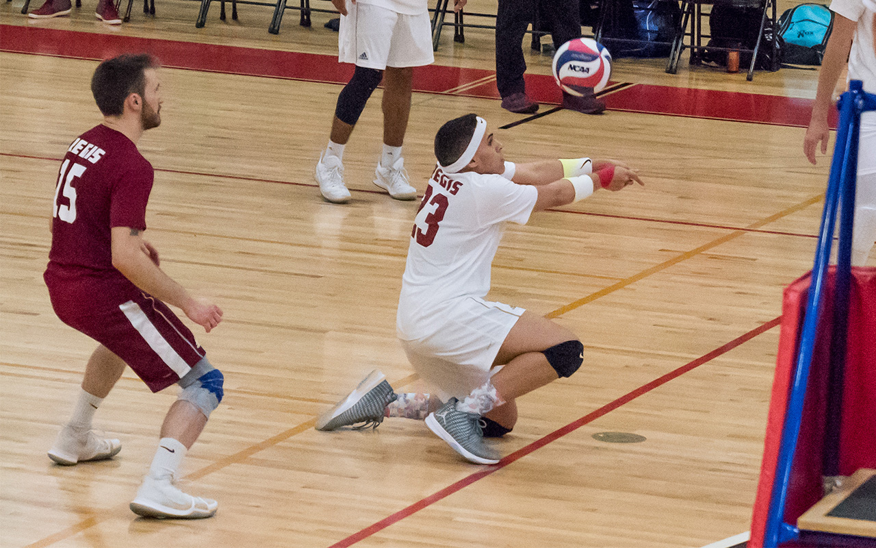 Men's Volleyball Falls To Rivier, Sweeps Pine Manor To Earn Trimatch Split