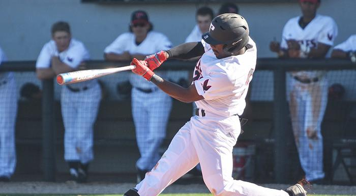 Bradley Harmon had two singles, two runs, and two RBI in a 19-9 win over South Florida. (Photo by Tom Hagerty, Polk State.)