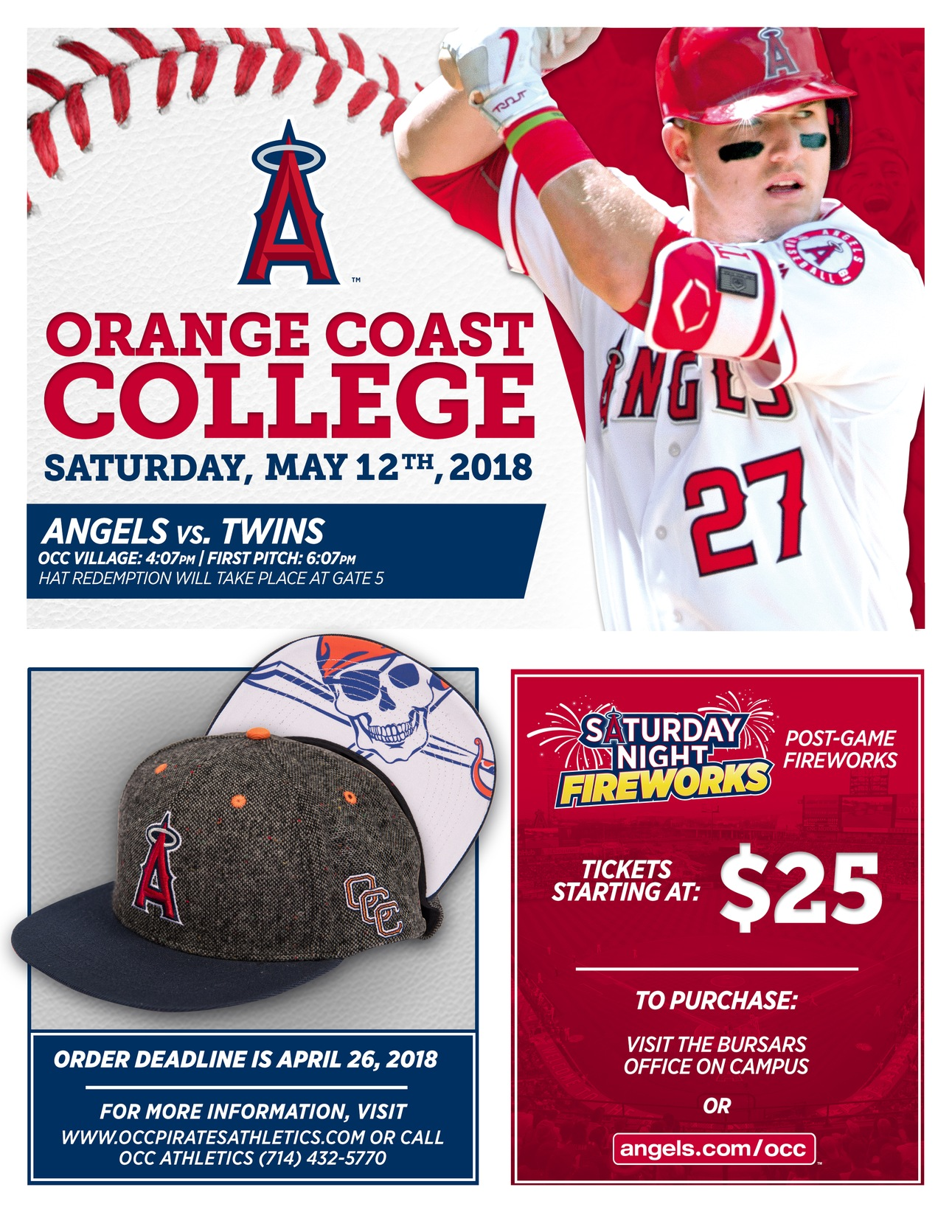 "Angels to offer ""Orange Coast College Day"" on May 12"