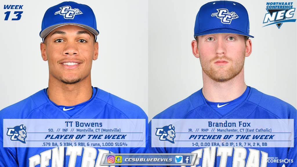 Bowens, Fox Earn NEC Baseball Weekly Honors