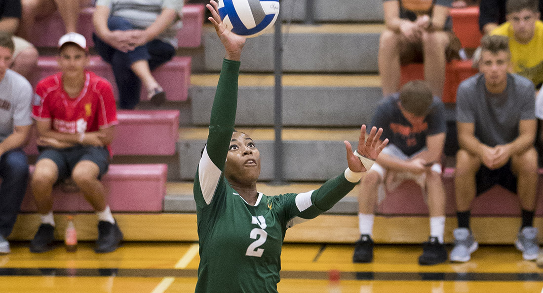 Danielle Hicks finished the night with 15 kills and a .379 hitting percentage.