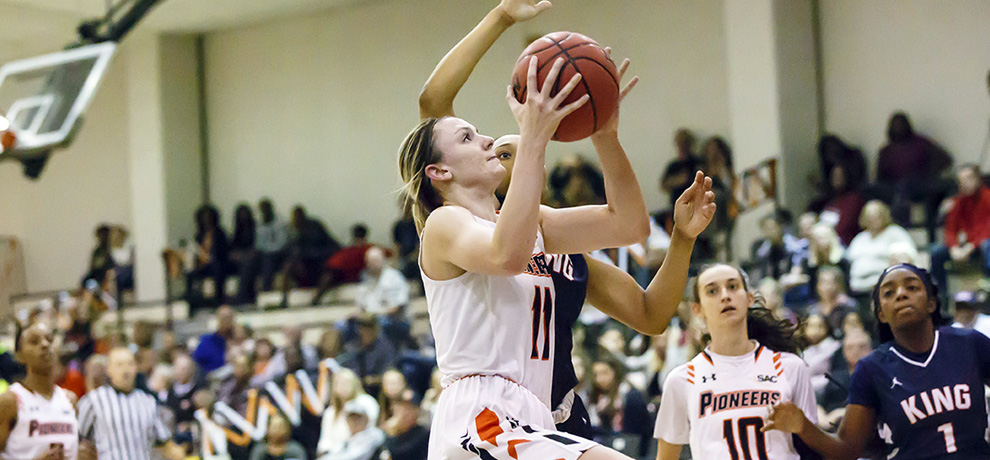 Pioneers use balanced attack in 77-55 win over Belmont Abbey
