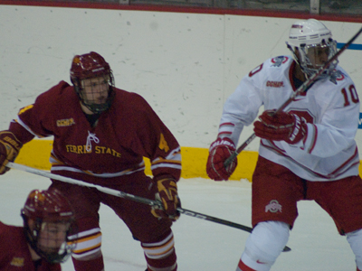 Chad Billins scored one of Ferris State's goals in the loss at Ohio State.  (Photo by Joe Gorby)