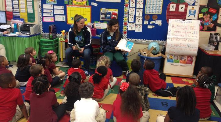 "Bobcat Women's Soccer Participates in ""Read Across America"" at Blandy Elementary"