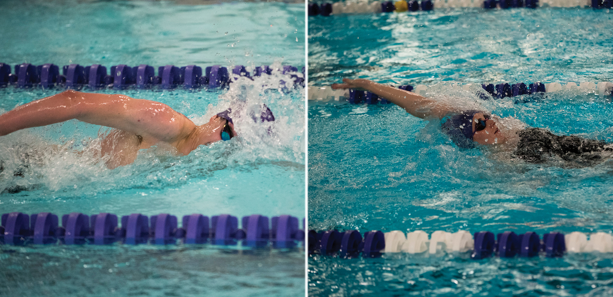 Sophomores Matt Mills, left, and Lauren Byrne have been named Landmark Conference Athletes of the Week for swimming & diving.