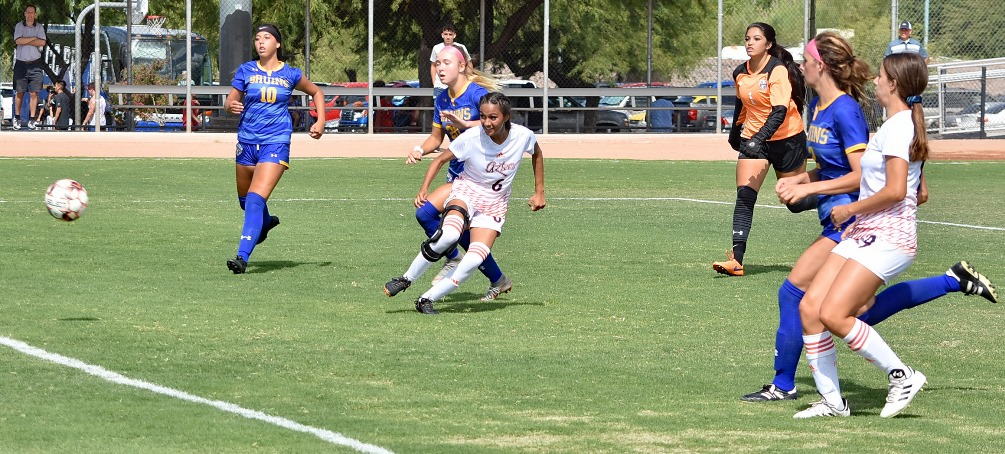 Freshman Savannah Samorano (Tucson HS) scored two goals for the Aztecs but No. 13 ranked Salt Lake Community College netted four goals in the final 27 minutes of the game. The Aztecs lost 6-2 in their open game of the season. Photo by Ben Carbajal