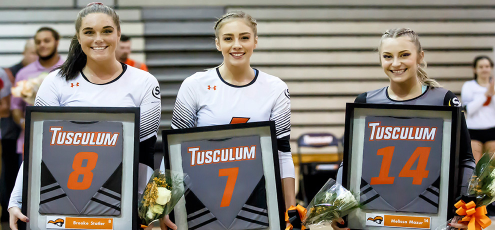Tusculum seniors Brooke Statler, Cassie Born and Melissa Mazur honored prior to Friday's Senior Night win over Lenoir-Rhyne (Photo by Chuck Williams)