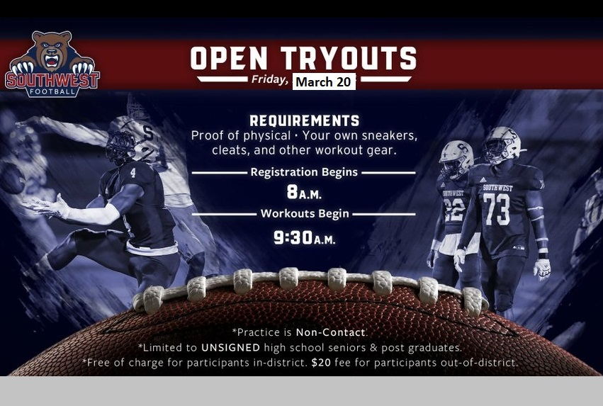 Southwest sets date football tryouts