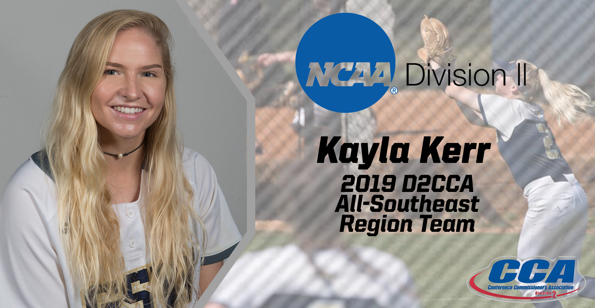 Kerr Named To D2CCA Softball All-Southeast Region Team