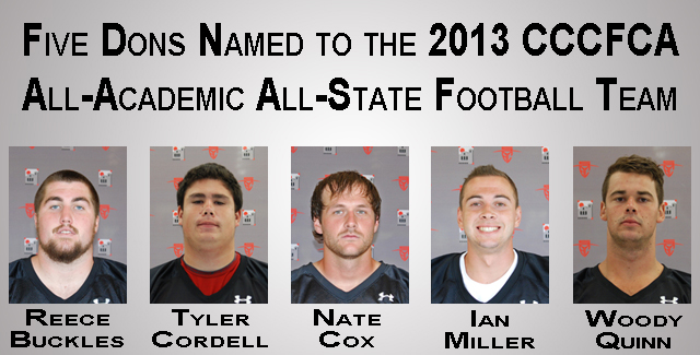 Five Football Players Named to All-Academic All-State Team