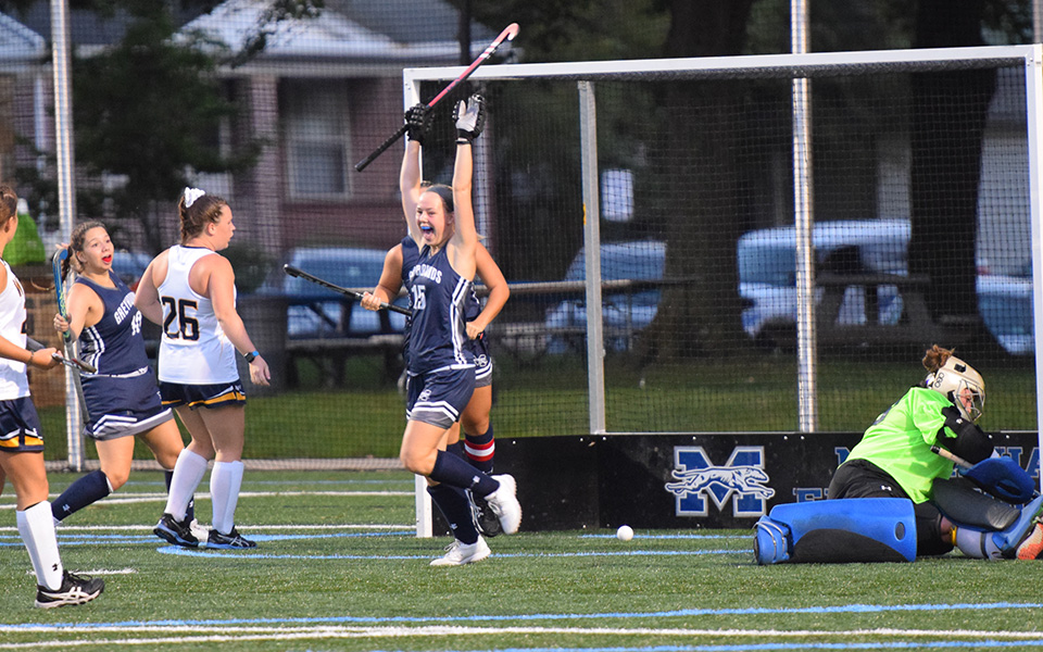 Sophomore Mae Dienes celebrates an early goal versus Wilkes University.