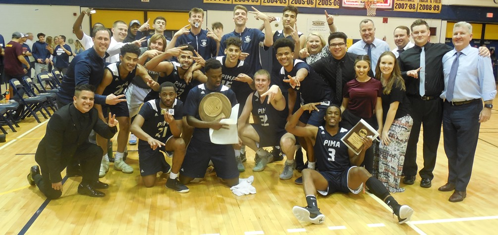 The Aztecs men's basketball team claimed their second straight Region I, Division II title after beating Phoenix College 73-70 on Saturday. The Aztecs advance to the NJCAA Division II Tournament in Danville, IL on Mar. 20-24. Photo by Raymond Suarez