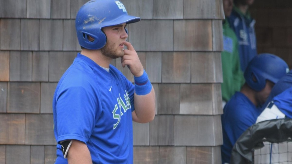 Salve Regina freshman Sean O'Malley homered in both games in Milton, Mass. (Photo by Ed Habershaw)