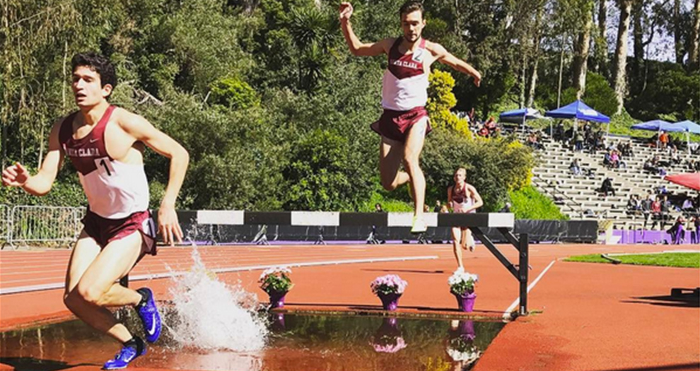 Ben Davidson (left) and Jean-Baptiste Tooley (middle) compete in the 3000m steeplechase Saturday.