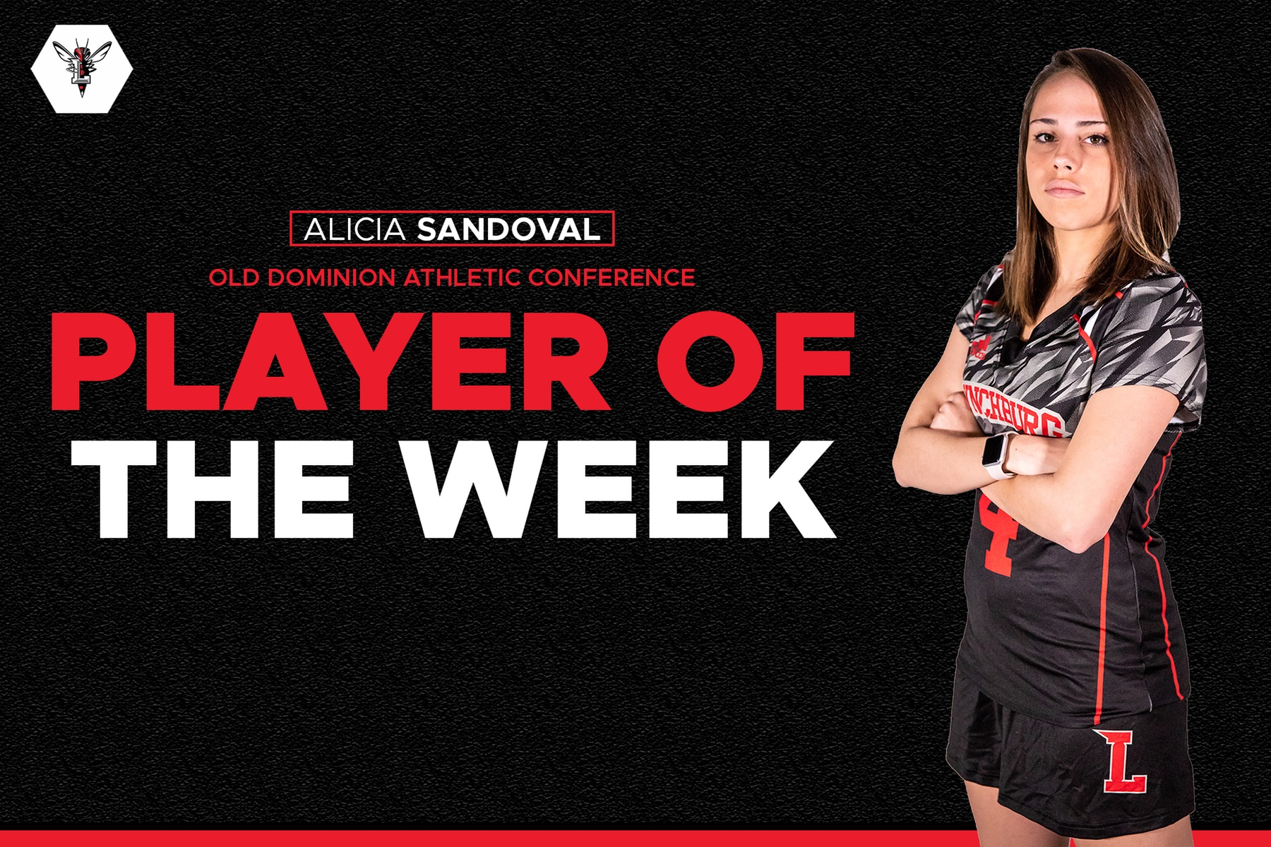 Alicia Sandoval standing with arms crossed in uniform over black player of the week background.
