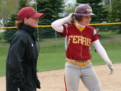Makenzi Peterson had a team-high two hits and two RBIs to give coach Keri Becker her 400th career win.  (Photo by Sandy Gholston)