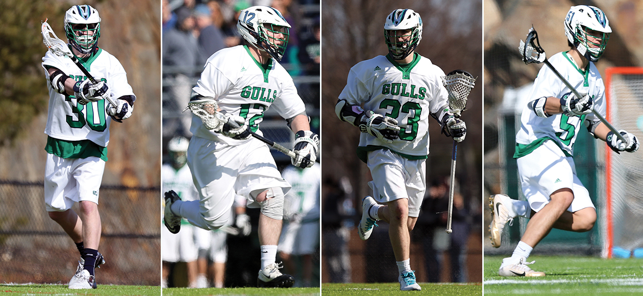 Four Endicott men's lacrosse student-athletes shown in game action.