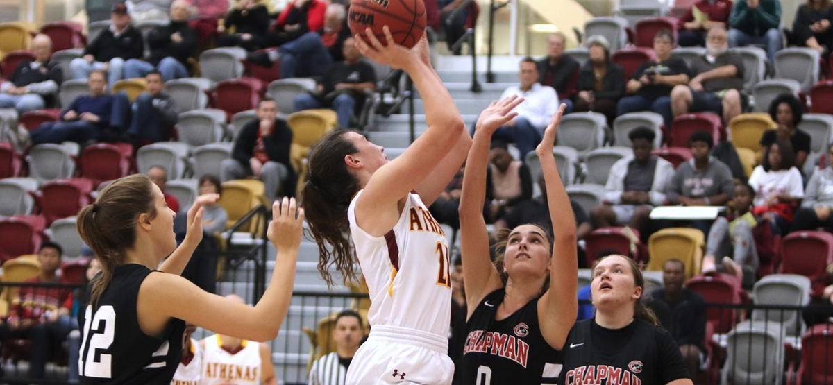Chapman Women's Basketball Surges Past CMS Late for 64-55 Win in SCIAC Championship Rematch