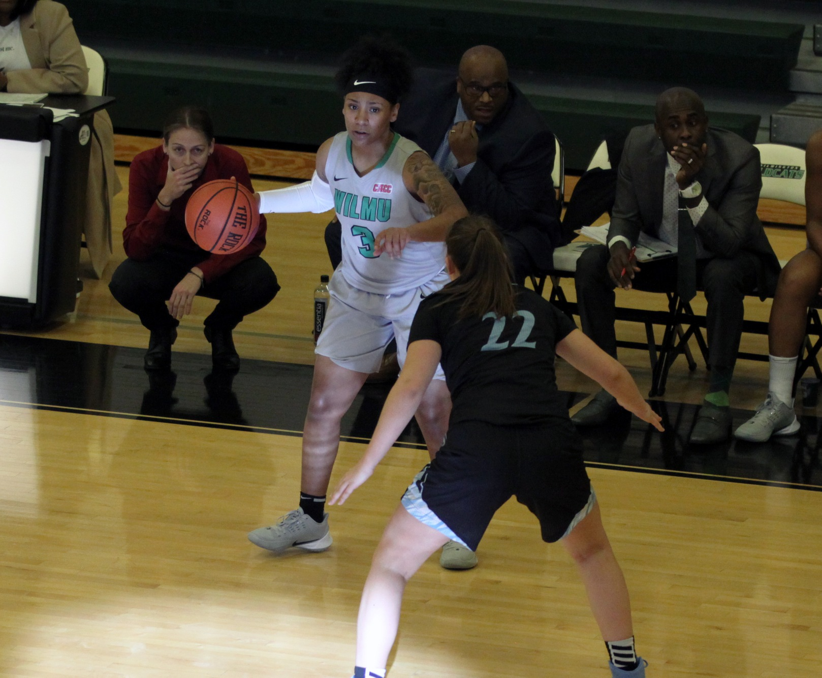 File photo of Kasha Andrews who came off the bench and hit five three-pointers against Bloomfield. Copyright 2019; Wilmington University. All rights reserved. Photo by Mary Kate Rumbaugh. December 7, 2019 vs. Holy Family.