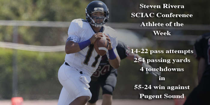 Steven Rivera named SCIAC Male Athlete of the Week