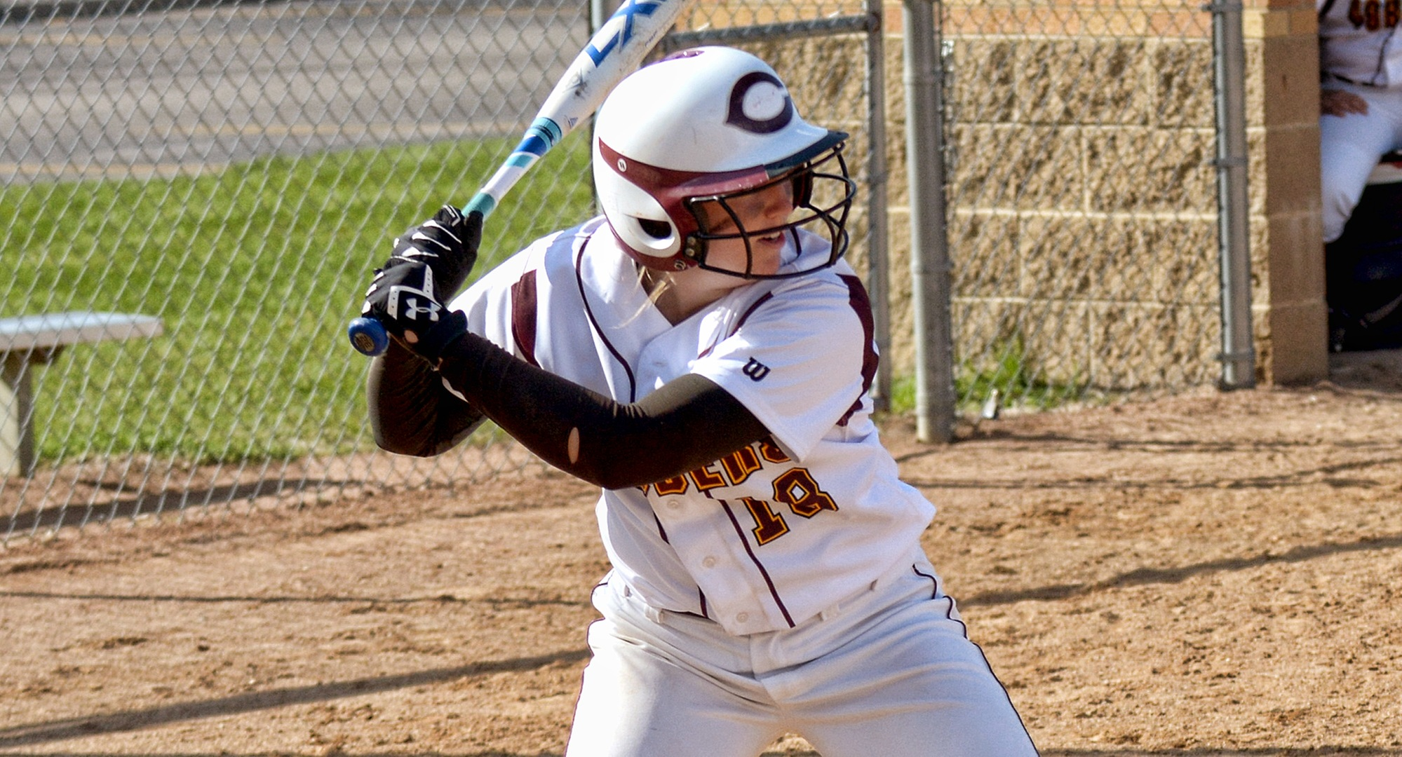 Senior Brooke Swarthout hit one of the three Cobber home runs in their two wins on the opening day of the season.