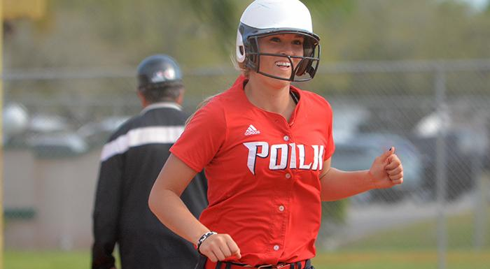 Kacie Booth smiles after hitting a three-run home run against Daytona State. (Photo by Tom Hagerty, Polk State.)