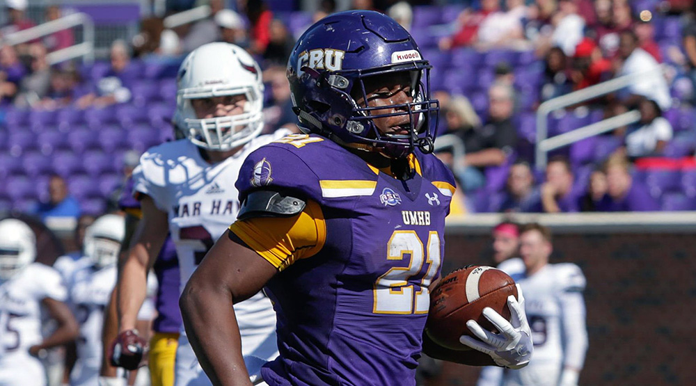 Markeith Miller crosses the goal line for UMHB in a home game against McMurry. (Mary Hardin-Baylor athletics photo)