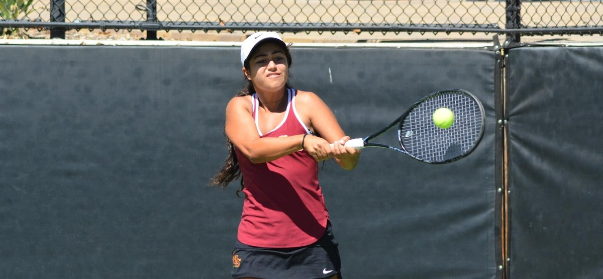 Sarah Bahsoun won in both singles and doubles in her first collegiate dual match