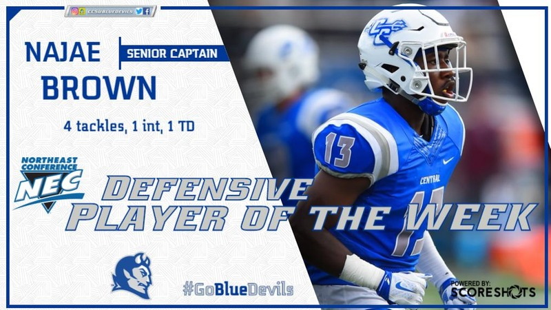 Senior Captain Najae Brown Named NEC Defensive Player of the Week