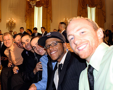 Bison players sitting in the East Room ready for the ceremony.