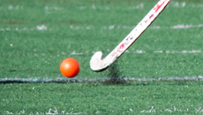 field hockey stick and ball