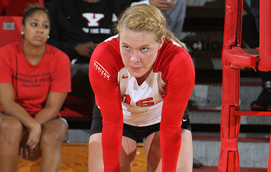 Cavanaugh's Double-Double Helps Volleyball to Four-Set Win Over SIUE